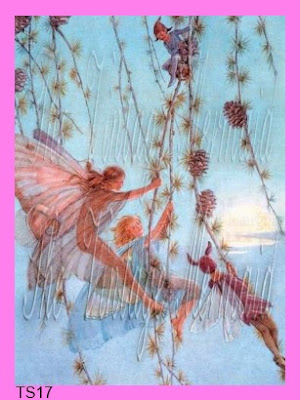 vintage fairies swinging from flower vines