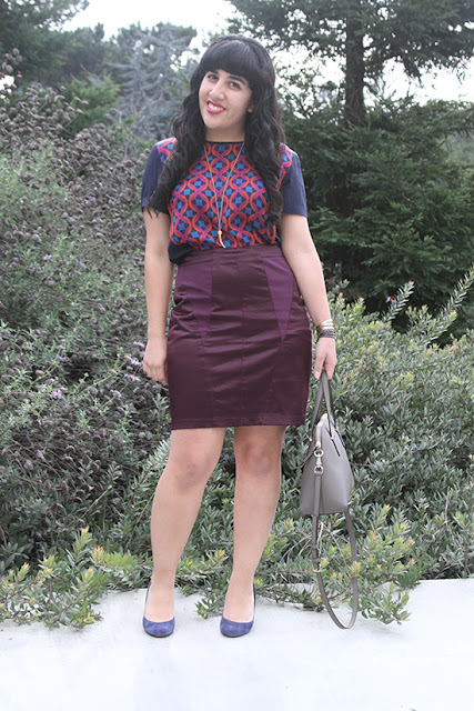 Patterned Top Solid Jewel tone Skirt Outfit