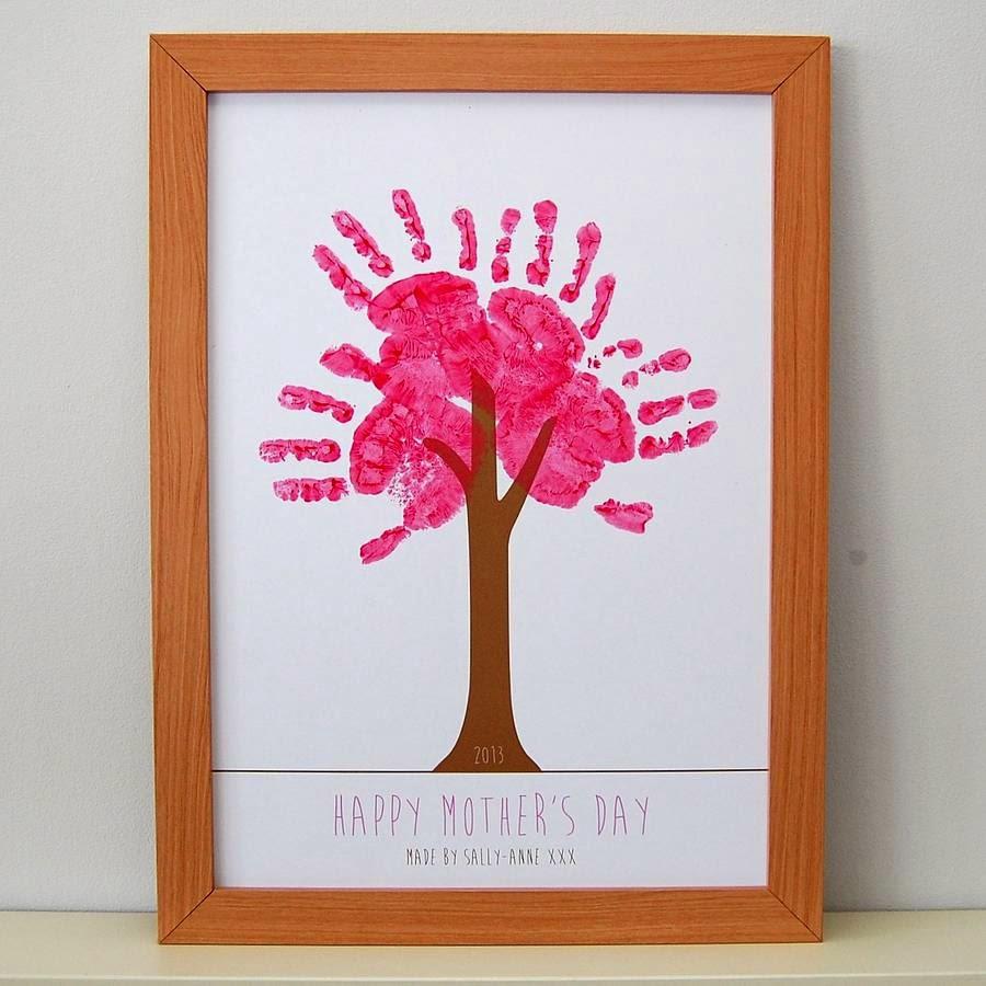Lámina de árbol personalizada con huellas de las manos de los miembros de la familia