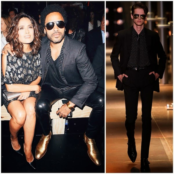 Salma Hayek and Lenny Kravitz at Saint Laurent Spring Summer 2015 show in Paris