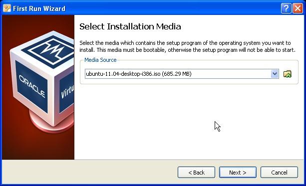 Select installation media