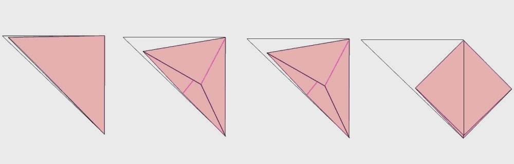Bước 5: Ta mở lớp giấy phía trên cùng ra, mở theo chiều từ trong ra ngoài về bên tay phải (hình 2) ta được như hình 4.