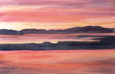 watercolor painting by Jennifer Kistler Columbia River sunset copyright 2012