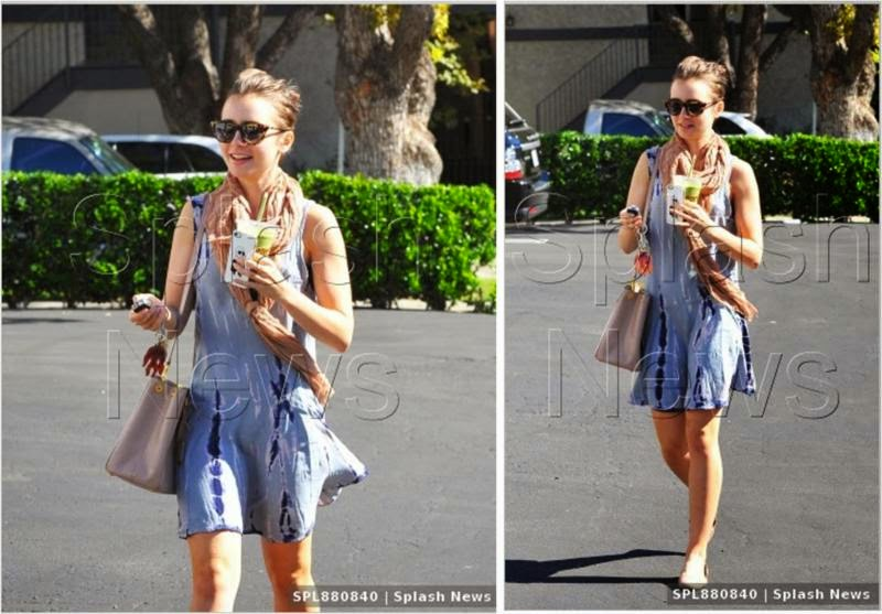 Lily Collins in Free For All Grey Tie-Dye Dress