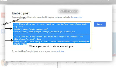 Code for embedding google+ posts on web pages.