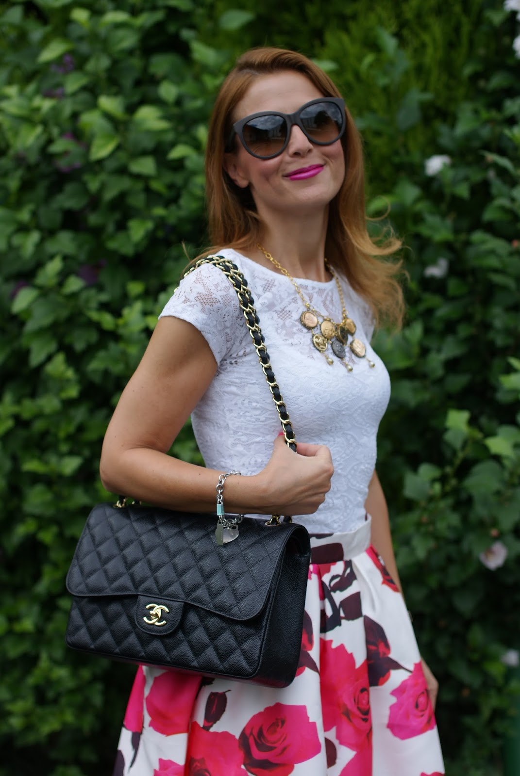 Chicwish rose print midi skirt , lace top and Chanel bag for a romantic outfit on Fashion and Cookies fashion blog, fashion blogger style