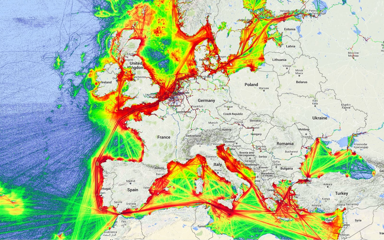 Shipping lanes in Europe ( 2014)
