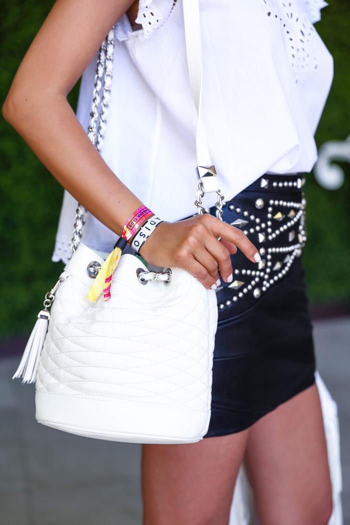 BCBGMAXAZRIA Florance mini quilted leather bucket bag, Coachella bucket bag