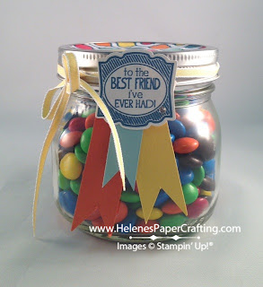 canning jar filled with candy