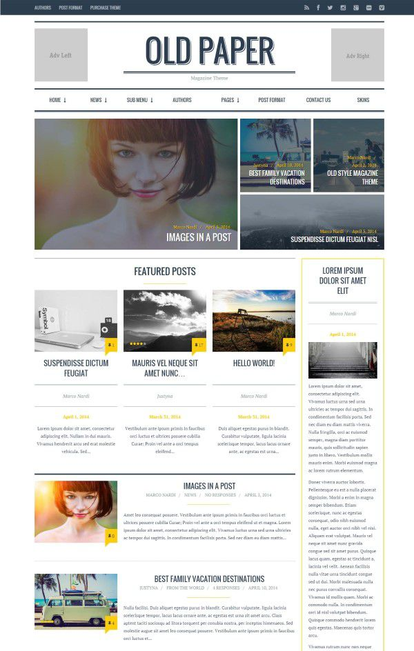 Oldpaper newspaer style theme for new blog