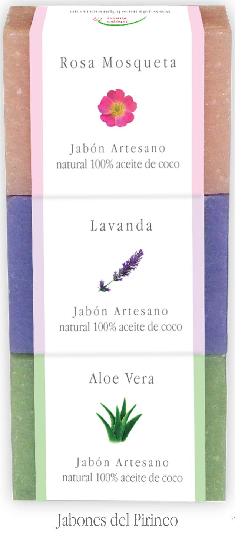 Pack Jabones Rosa de Mosqueta, Lavanda y Aloe Vera