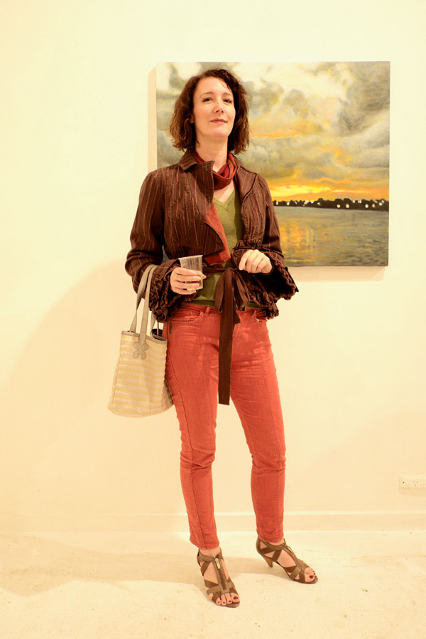 Sandles, rust jeans and burgundy jacket over olive V tee, Luminous, Sheffer Gallery - 38 Lander street, Darlington