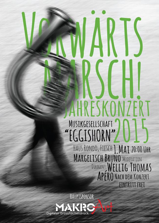 Konzert in Fiesch, 1. Mai 2015, Plakat, Front, Cover, Poster, Musik
