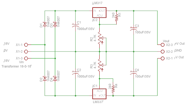 Dual Adjustable Power Supply Circuit Diagram