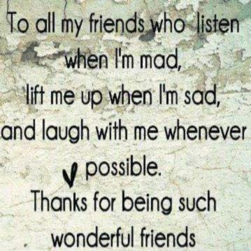 To all my friends who listen when I'm mad, lift me up when I'm sad, and laugh with me whenever possible. Thanks for being such wonderful friends.