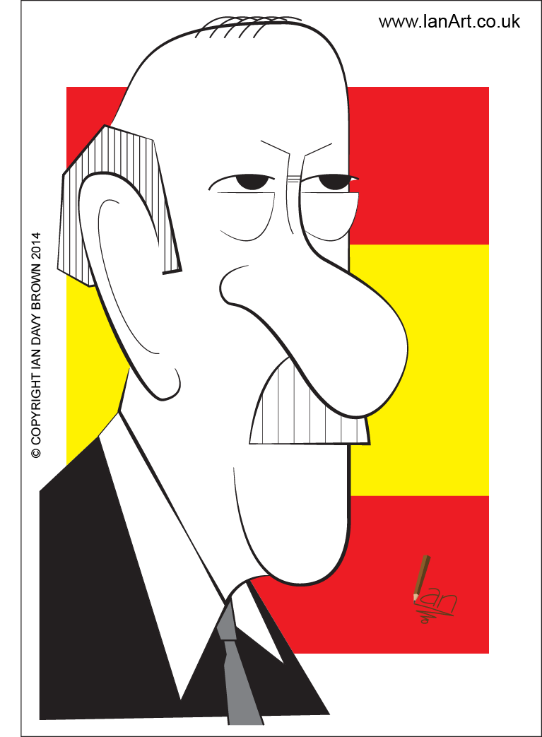 Vicente del Bosque caricature by Ian Davy Brown