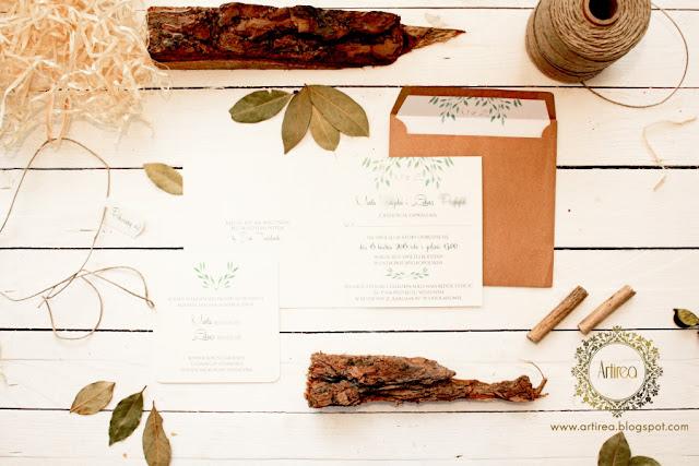 eko rustykalne zaproszenia ślubne artirea