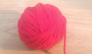 ball of red t-shirt yarn