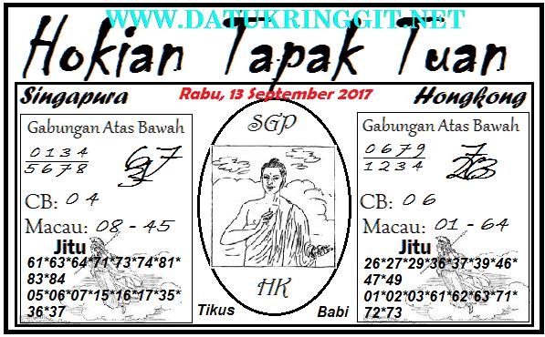 Prediksi SGP HK Hokian Tapak Tuan Rabu 13 09 2017