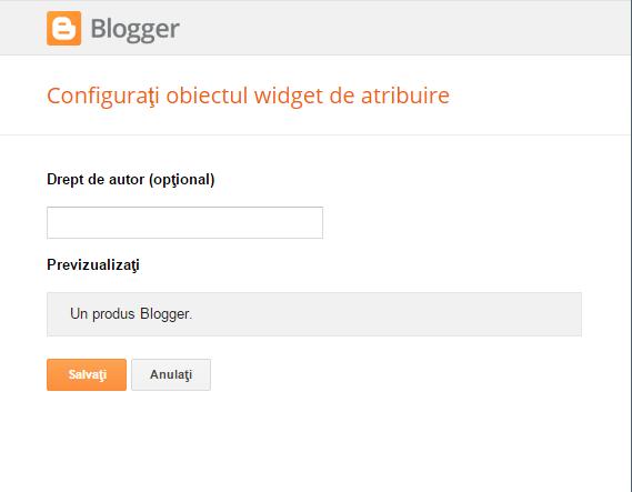 Un produs Blogger