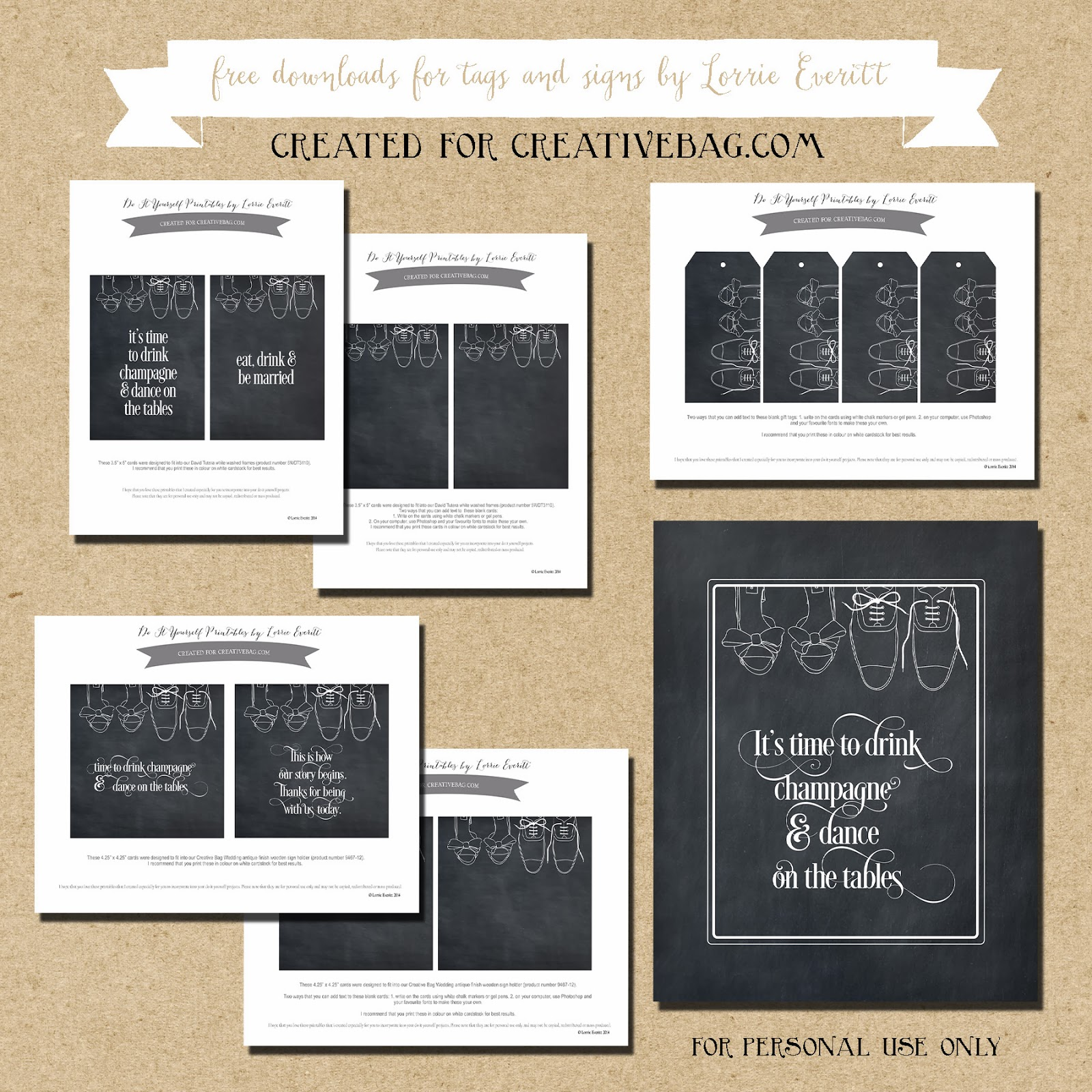 wedding favor and sign inspiration using Lorrie Everitt's free downloads | chalkboard inspired art