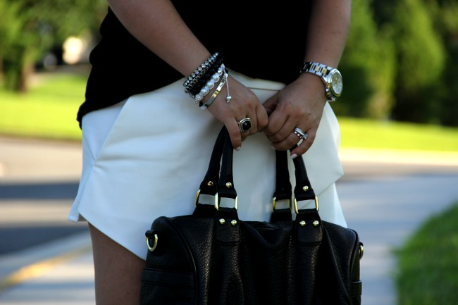 White Asymmetric Shorts - Zara, Black Top - TJ Maxx, Accessories - Boy Meets Girl, Joseph Nogucci and some for my closet, Black Onyx and Silver Ring - David Yurman, Bag - Steve Madden via Nordstrom Rack