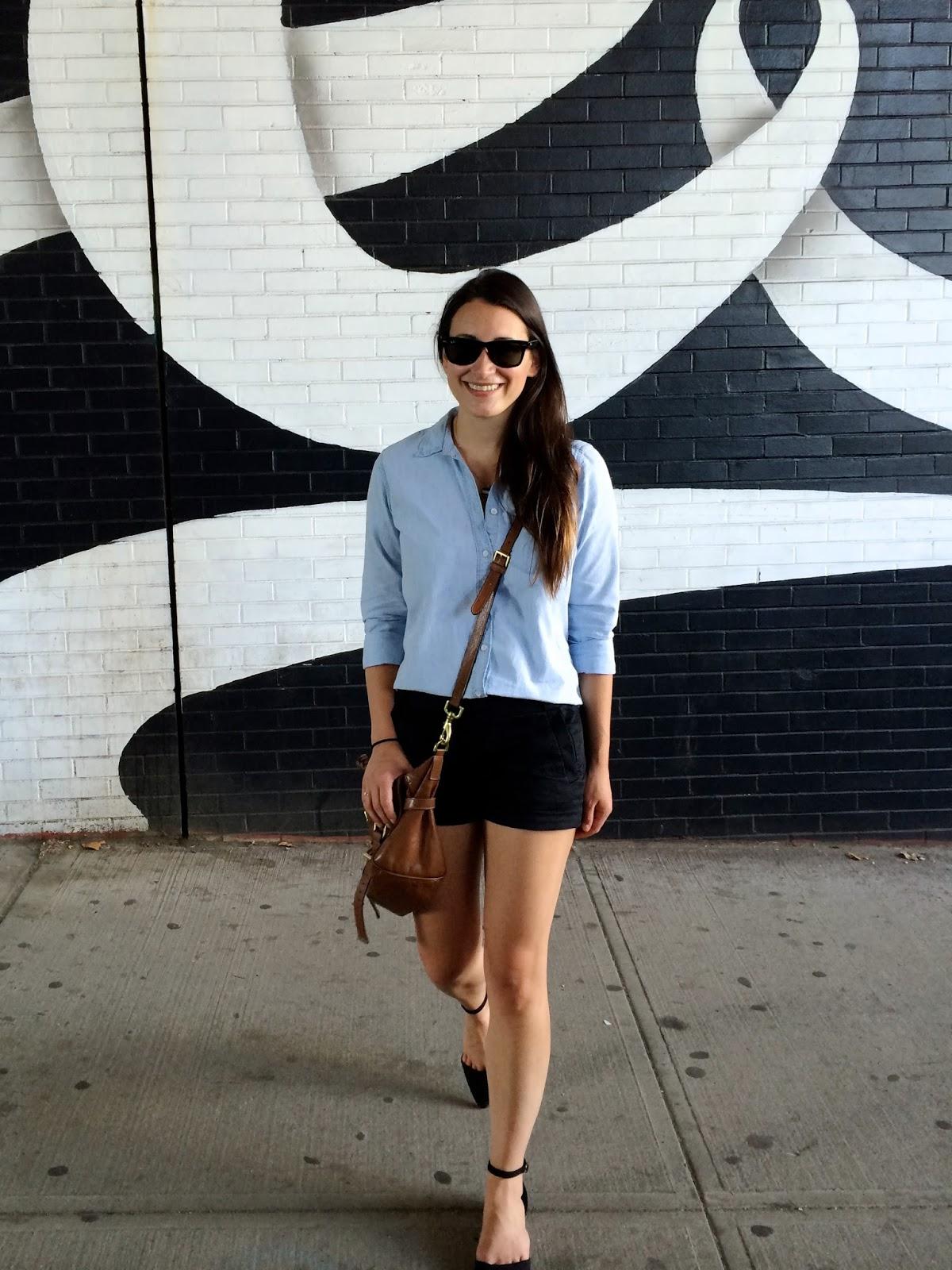 black + blue | chambray shirt, black shorts