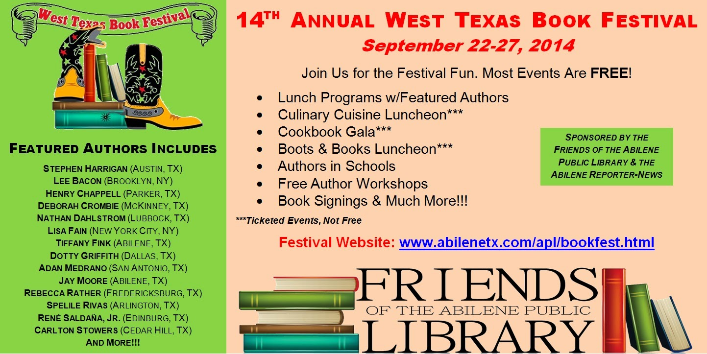 Newsevents your library 2014 west texas book festival 2014 west texas book festival highlights featured authors aiddatafo Choice Image