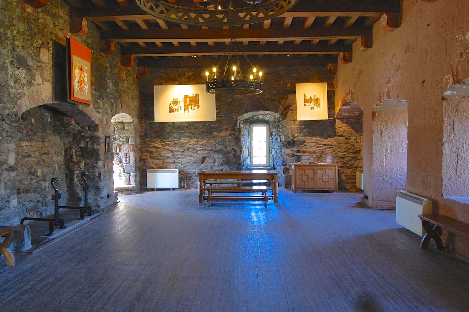 Reconstructed great hall in the Rothesay Castle gatehouse