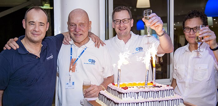 Top-level management from Arianespace, O3b Networks and Thales Alenia Space celebrate Arianespace's 500th satellite orbited with a cake to highlight the milestone. Pictured from left to right are: Jean-Loïc Galle, CEO of Thales Alenia Space; John Dick, Chairman and Director of O3b Networks; Steve Collar, CEO of O3b Networks; and Stéphane Israël, Arianespace's Chairman and CEO. Credit: Arianespace
