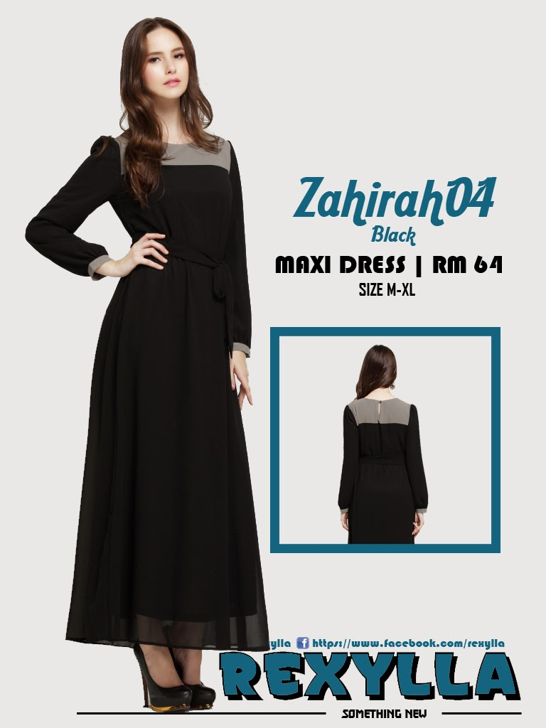 rexylla, maxi dress, zahirah04, black