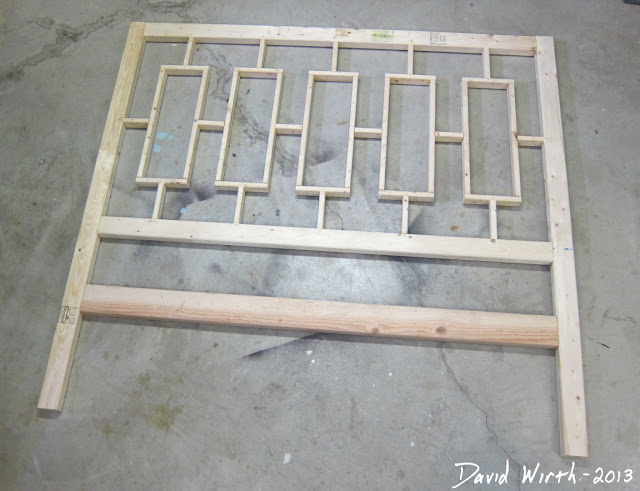 cheap, easy to make pine headboard, bed, plan