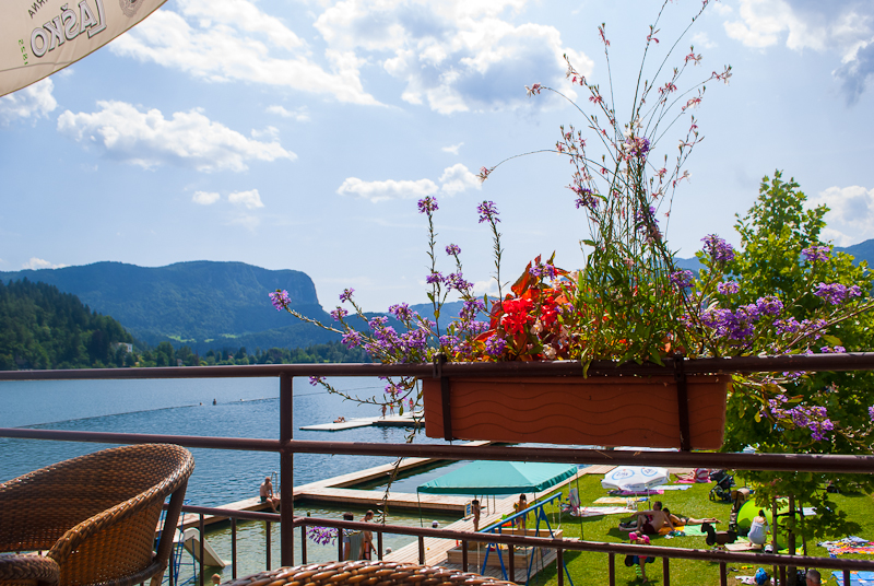 View of lake bled from a cafe above