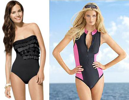 Slimming swimsuits: black with ruffles or sexy scuba style