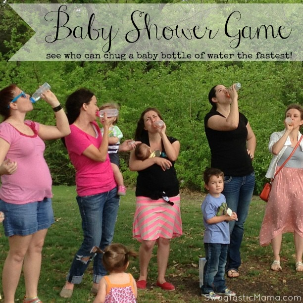 {Baby Shower Game} See who can chug a baby bottle of water the fastest! It's not as easy as you think. ;) via swagtasticmama.com