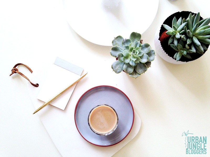 calm desk space with succulents and coffee Urban Jungle Bloggers