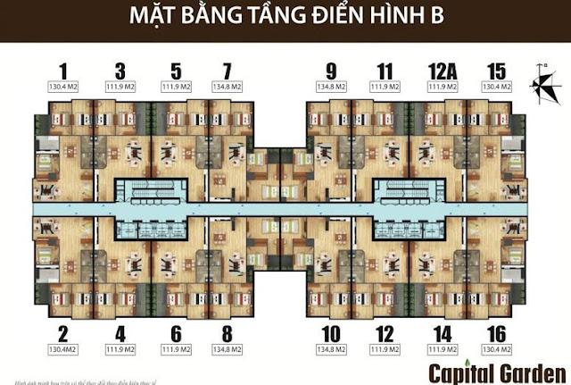 Mặt bằng căn hộ chung cư 102 Trường Chinh Kinh Đô