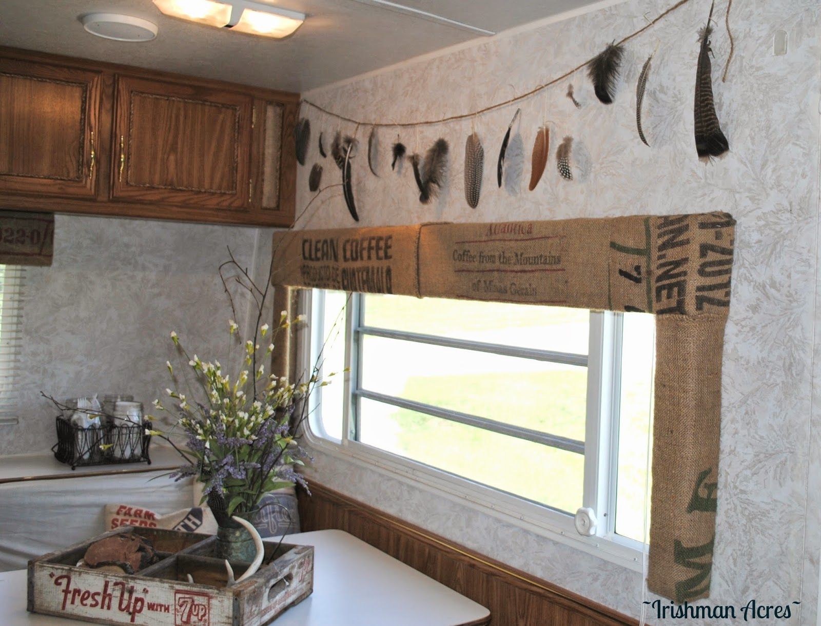 Camper window treatments - And You Know What I Like This Better Than The Antlers So There Decor Gods Now This Is My Favorite Window In The Camper