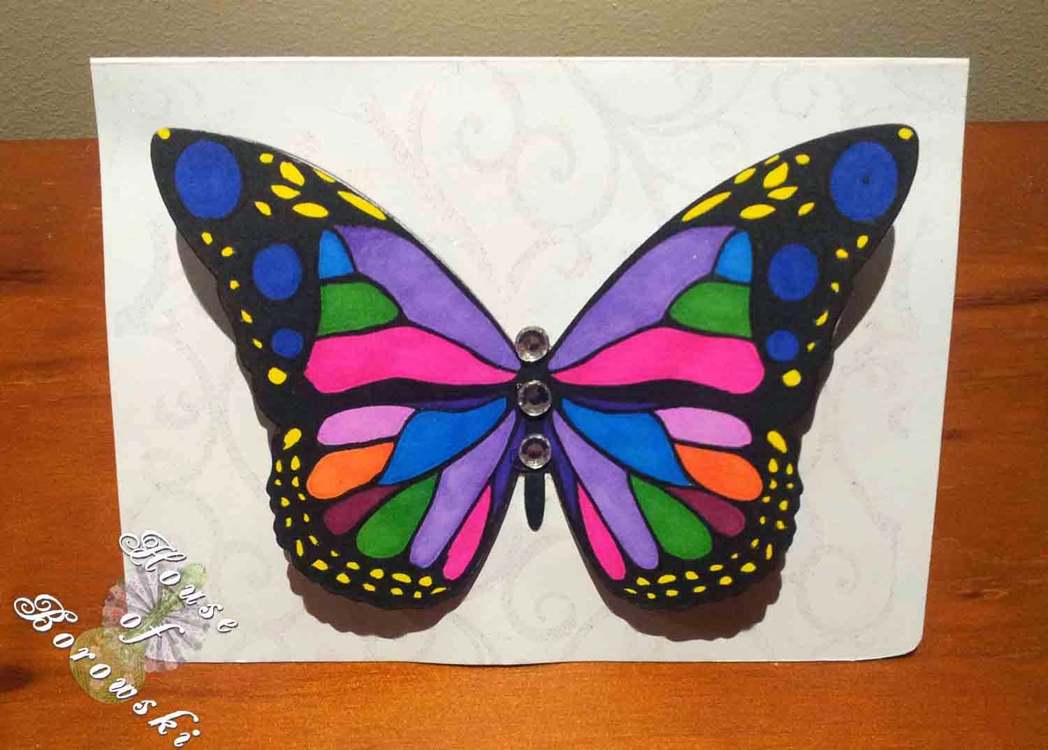 HOB Kaszazz Flutterblys,Sizzix with hero arts,bic markit, distress inks, versamark ink, clear iridescent embossing powder