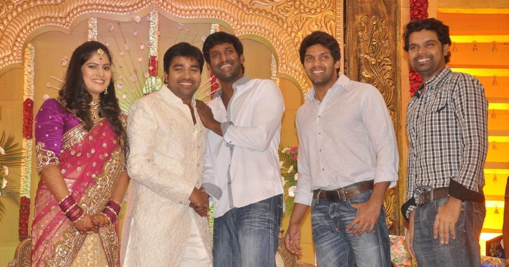 Actor Shiva Weds Priya South Indian Vishal And Arya In Shivas Reception