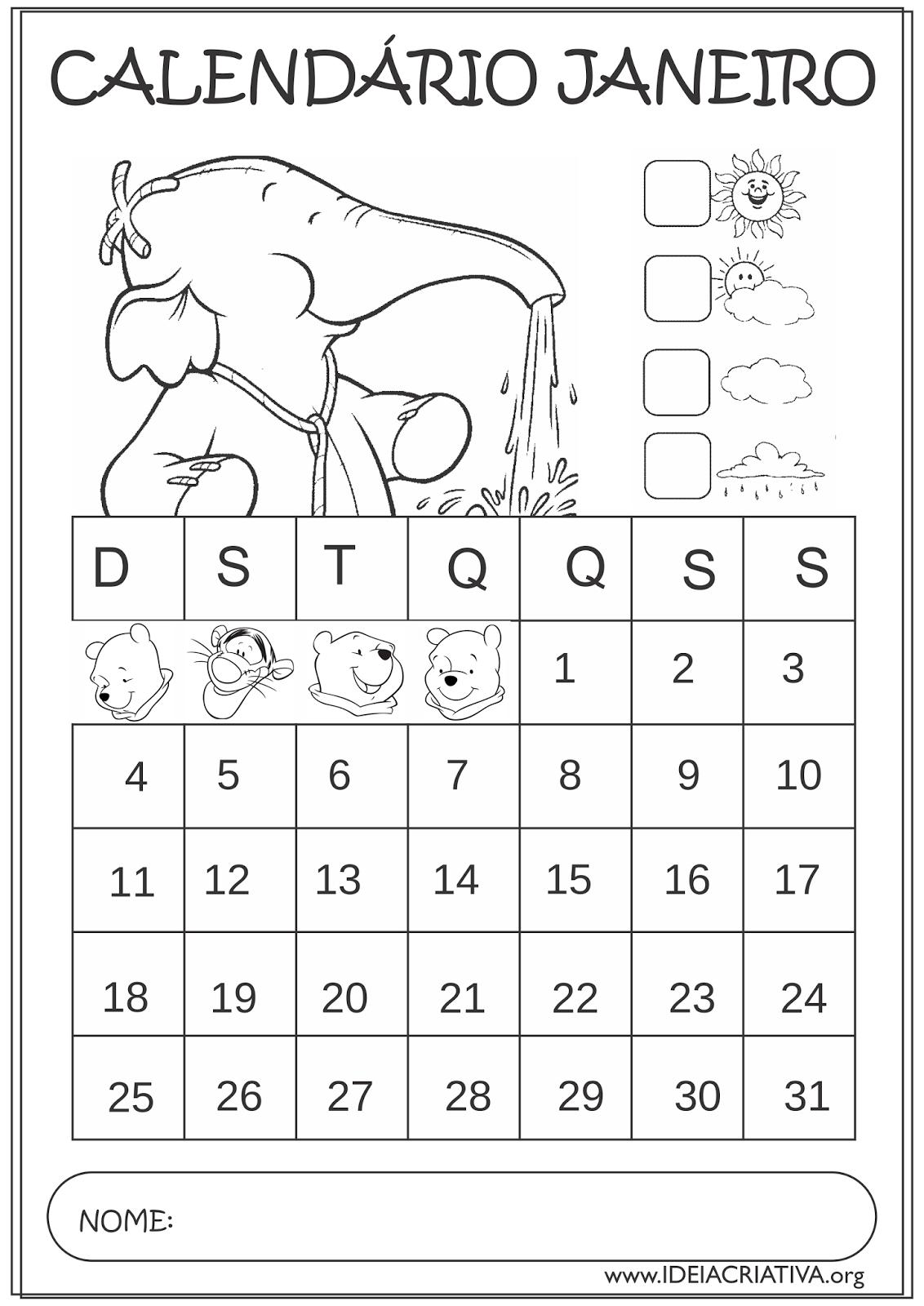 Calendários Janeiro 2015 Ursinho Pooh para Colorir