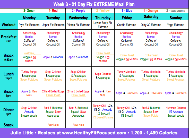 21 Day Fix Extreme Week 2 Update and Week 3 Meal Plan! 21 Day Fix Extreme Meal Plan, www.HealthyFitFocused.com, Julie Little