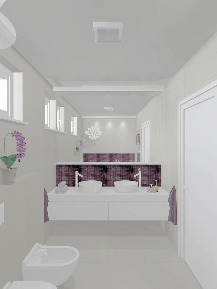 Otthon és dekor: Egy modern lakás lilában: fürdőszoba látványtervek