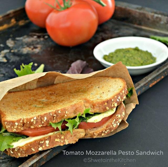 Shweta in the Kitchen: Tomato Mozzarella Pesto Sandwich