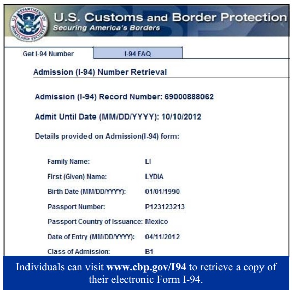 I-94 Admission Number submited images.