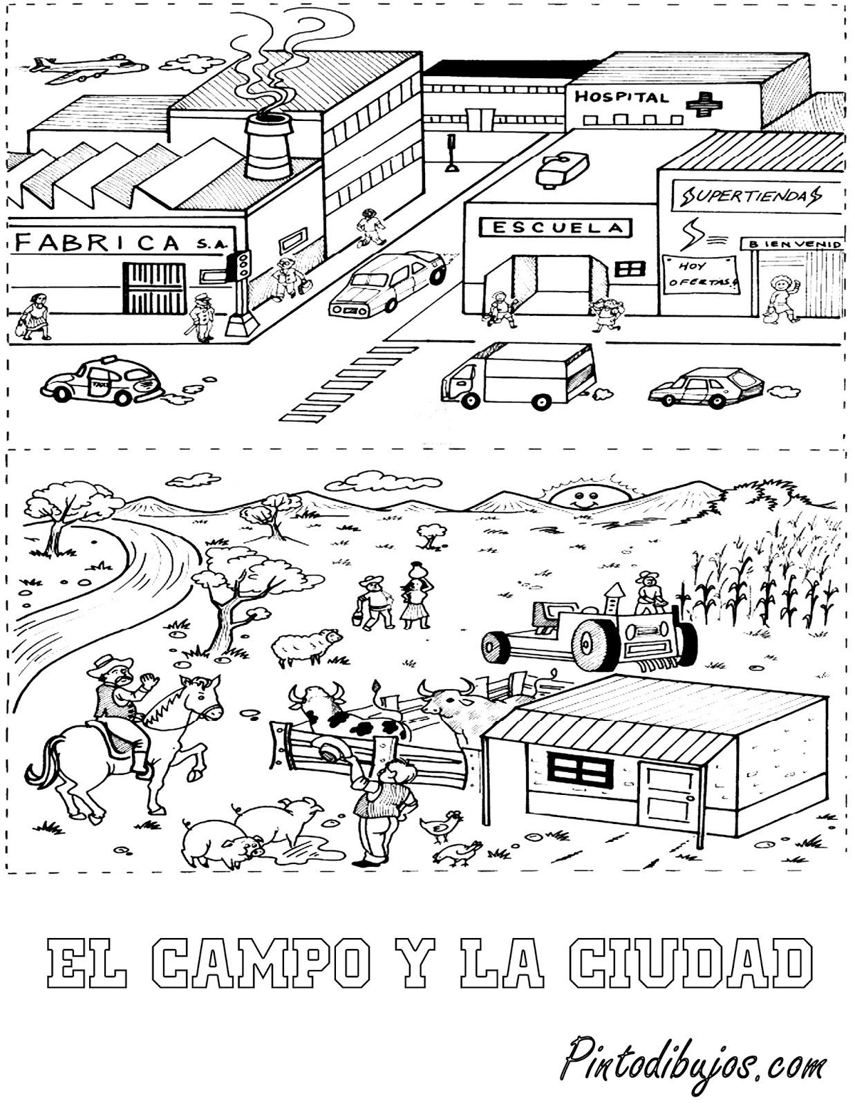 Perfecto Ciudad Para Colorear Imprimible Viñeta - Dibujos Para ...