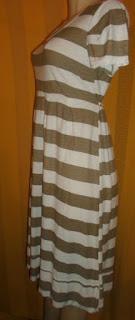 vestido de listras nude  manequim 42  poliéster+viscose com elastano