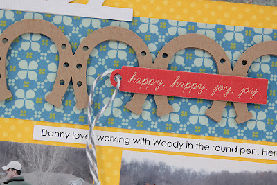 Horse Layout using Howdy Sunshine Free Cut File by Juliana Michaels with horseshoe border and cowboy title detail