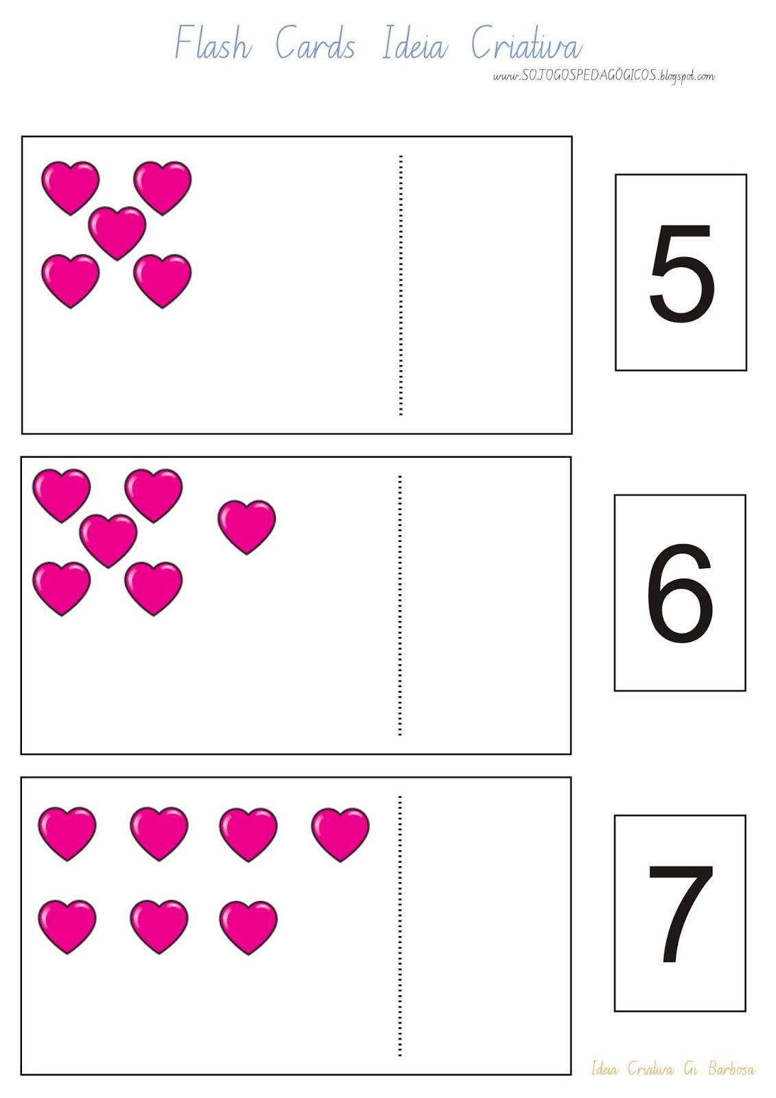 Flash Cards Número e Quantidade Dia das Mães