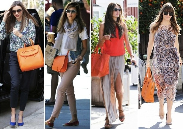 celebrities, orange handbags